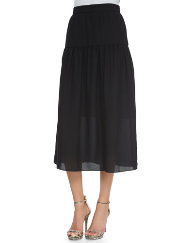Linen Peasant Maxi Skirt, Black
