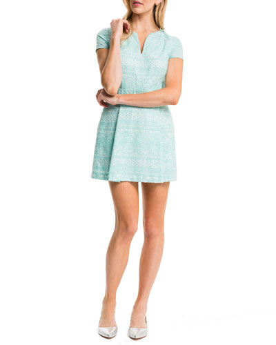 Piper Short-Sleeve Box-Pleated Dress