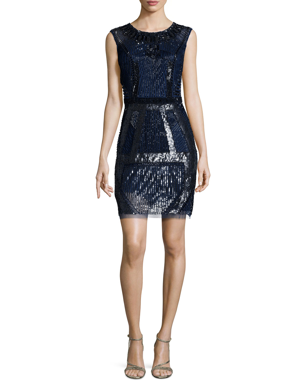 Geometric Beaded Cocktail Dress, Navy/Black