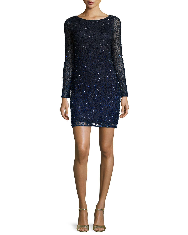 Long-Sleeve Sequin Cocktail Dress, Blue/Black