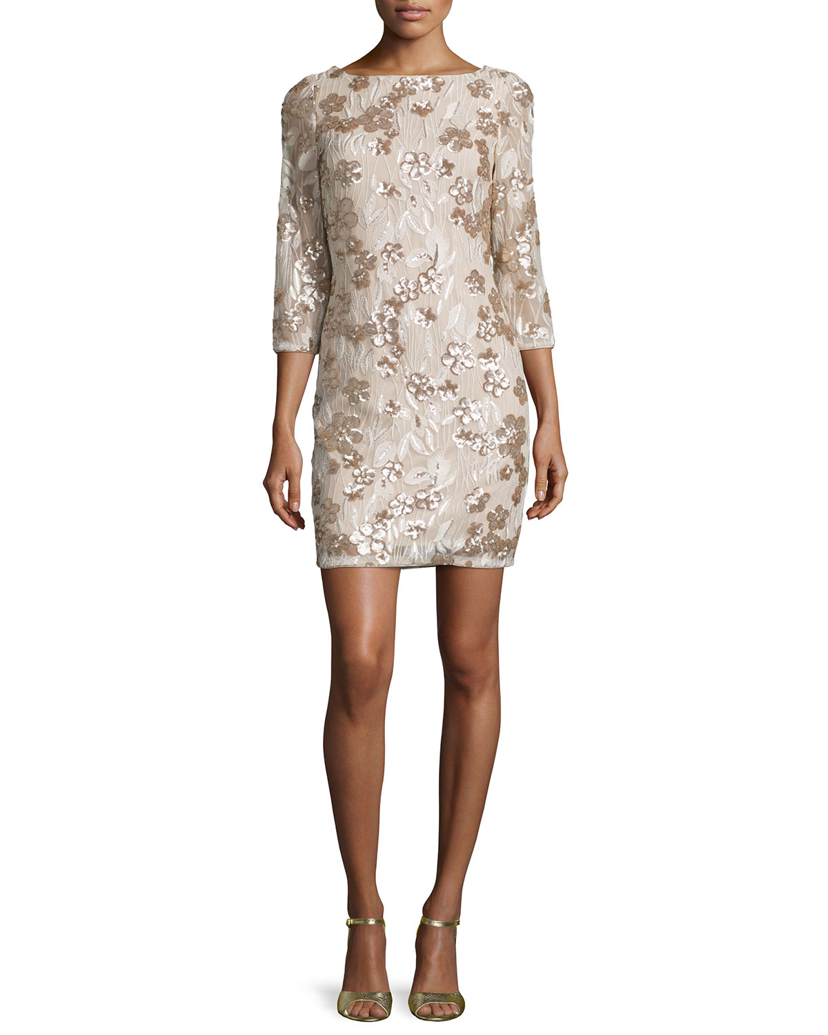 Floral-Embroidered Sequin Dress, Champagne