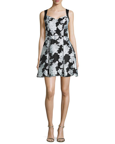 Sleeveless Floral Party Dress, Black/White