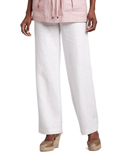 Long Linen Pants, White