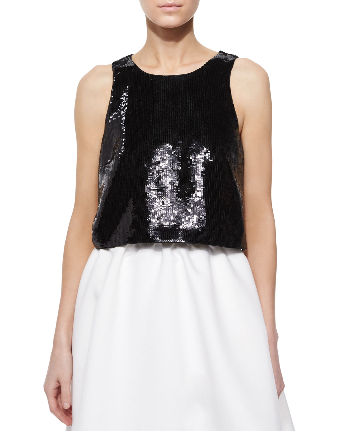 Sleeveless Sequined Crop Top