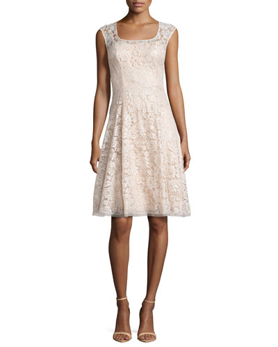 Sleeveless Swing Dress with Lace Overlay