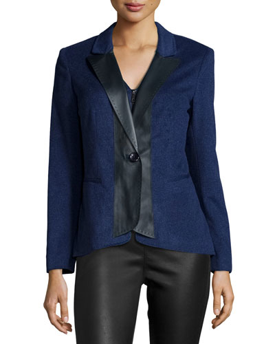 Greer Cashmere Jacket W/Leather Trim, Dusk Melange