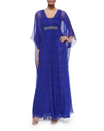 Caftan Dress W/ Sequined Underlay