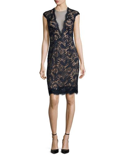 Plunging V-Neck Lace Dress, Midnight