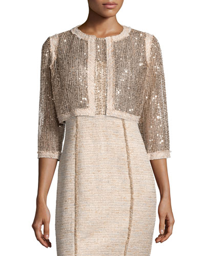 3/4-Sleeve Sequined Cropped Jacket W/ Tweed Trim