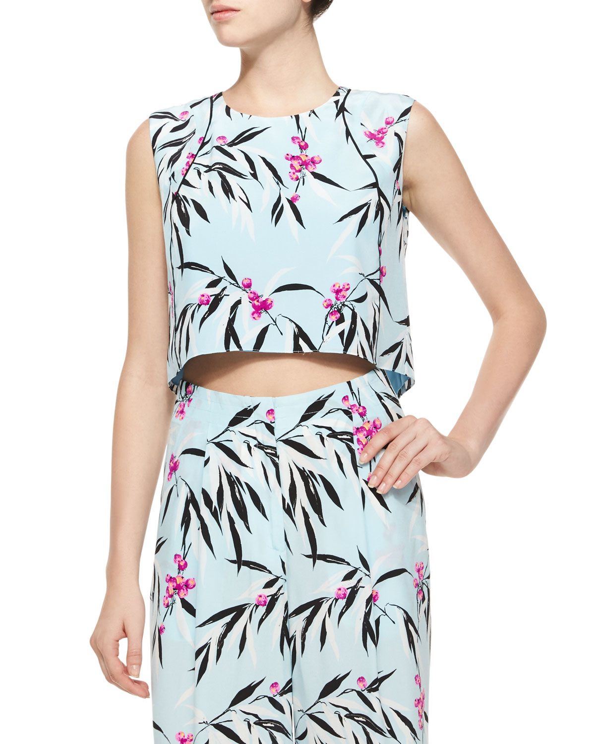 Cameo Cropped Floral Top, Robin's Egg/Multicolor
