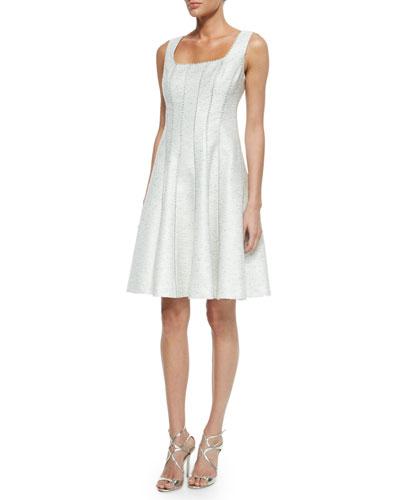 Sleeveless Metallic Tweed Fit & Flare Dress