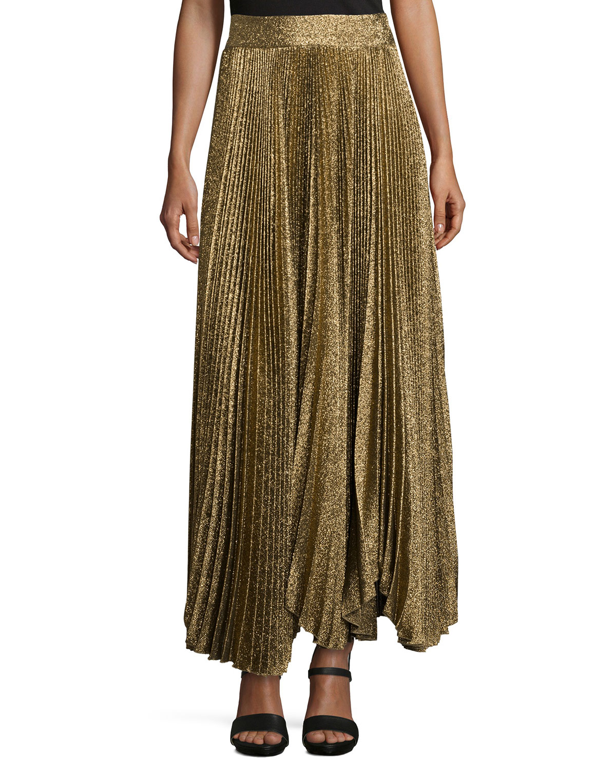 Katz Shimmery Pleated Maxi Skirt