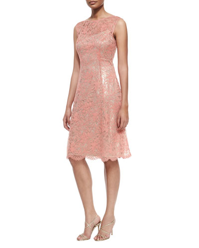 Lace Cap-Sleeve Fit-and-Flare Dress, Coral
