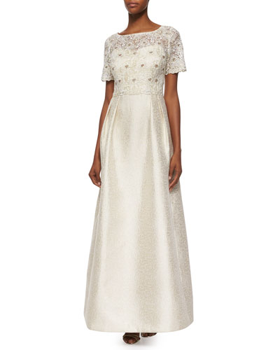 Short-Sleeve Lace Bodice A-line Ball Gown
