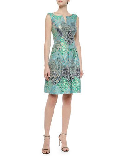 Floral Jacquard A-Line Cocktail Dress, Blue/Multicolor