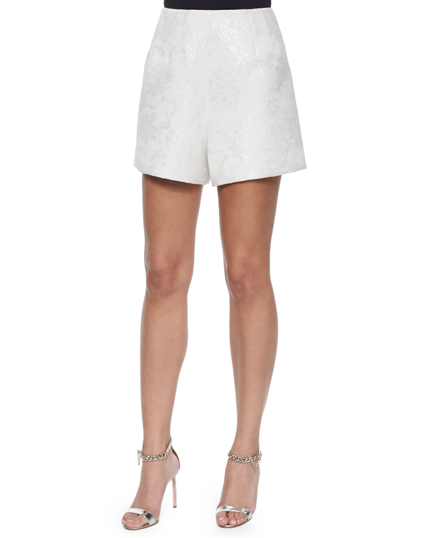 Metallic Lace Jacquard Short Shorts
