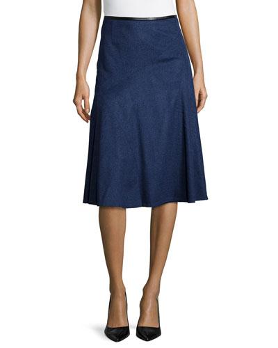 Nara A-Line Cashmere Skirt, Dusk Melange