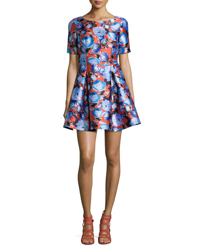 Short-Sleeve A-Line Mini Dress, Fresno