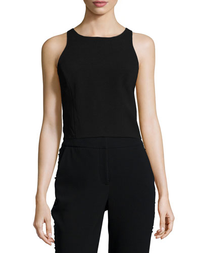 Sleeveless Zip-Back Crop Top, Black