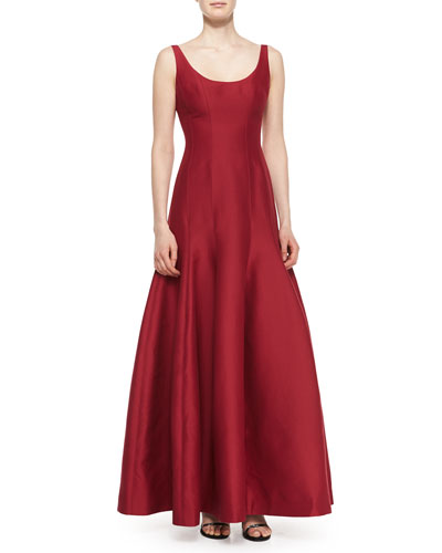 Tulip-Skirt Sleeveless Gown, Garnet