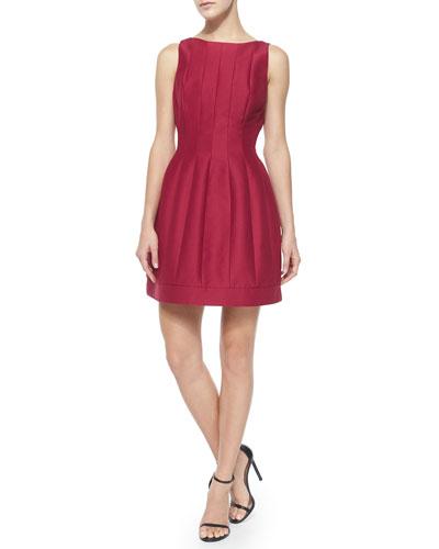 Seamed Structured Cocktail Dress, Garnet