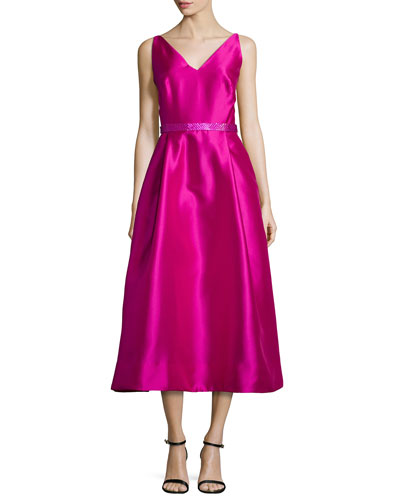 Sleeveless Beaded Tea-Length Dress