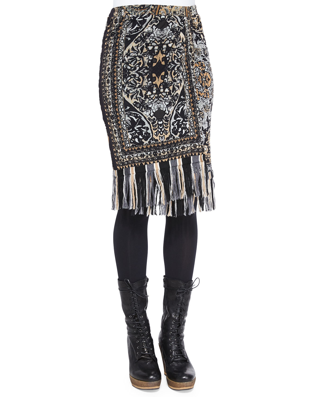 Faux-Wrap Rug-Print Skirt W/ Fringe