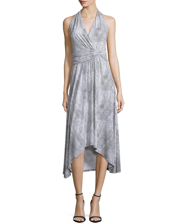 Halter Snake-Print High-Low Dress