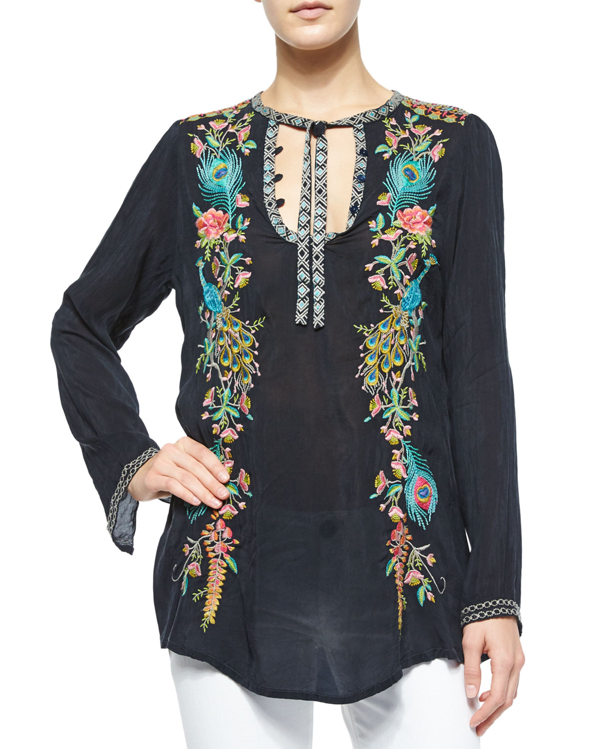 Long-Sleeve Peacock Embroidered Tunic, Plus Size
