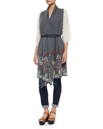 Tisha Embroidered Knit Vest, Plus Size