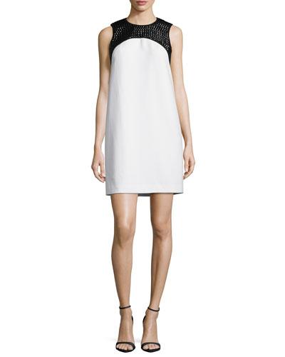 Sequined Yoke Sleeveless Shift Dress