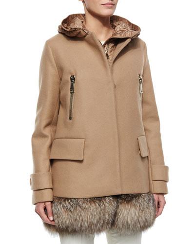 Fenelon Two-Piece Fur-Hem Coat, Camel