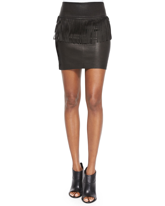 Gin Fringe Peplum Leather Skirt