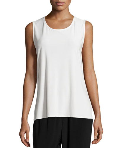 Sleeveless Long Tank, White, Petite