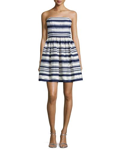 Carolina Strapless Striped Fit & Flare Dress