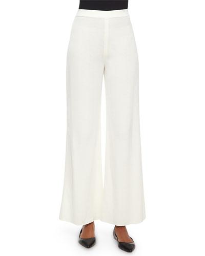 Washable Wide-Leg Pants, Cream, Petite