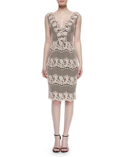 Ivy Sleeveless V-Neck Lace Midi Cocktail Dress, Rose