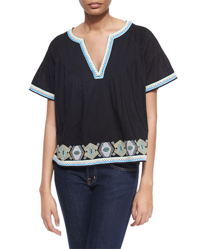Hunter Pintucked Cotton Top w/ Embroidery, Black/Multicolor