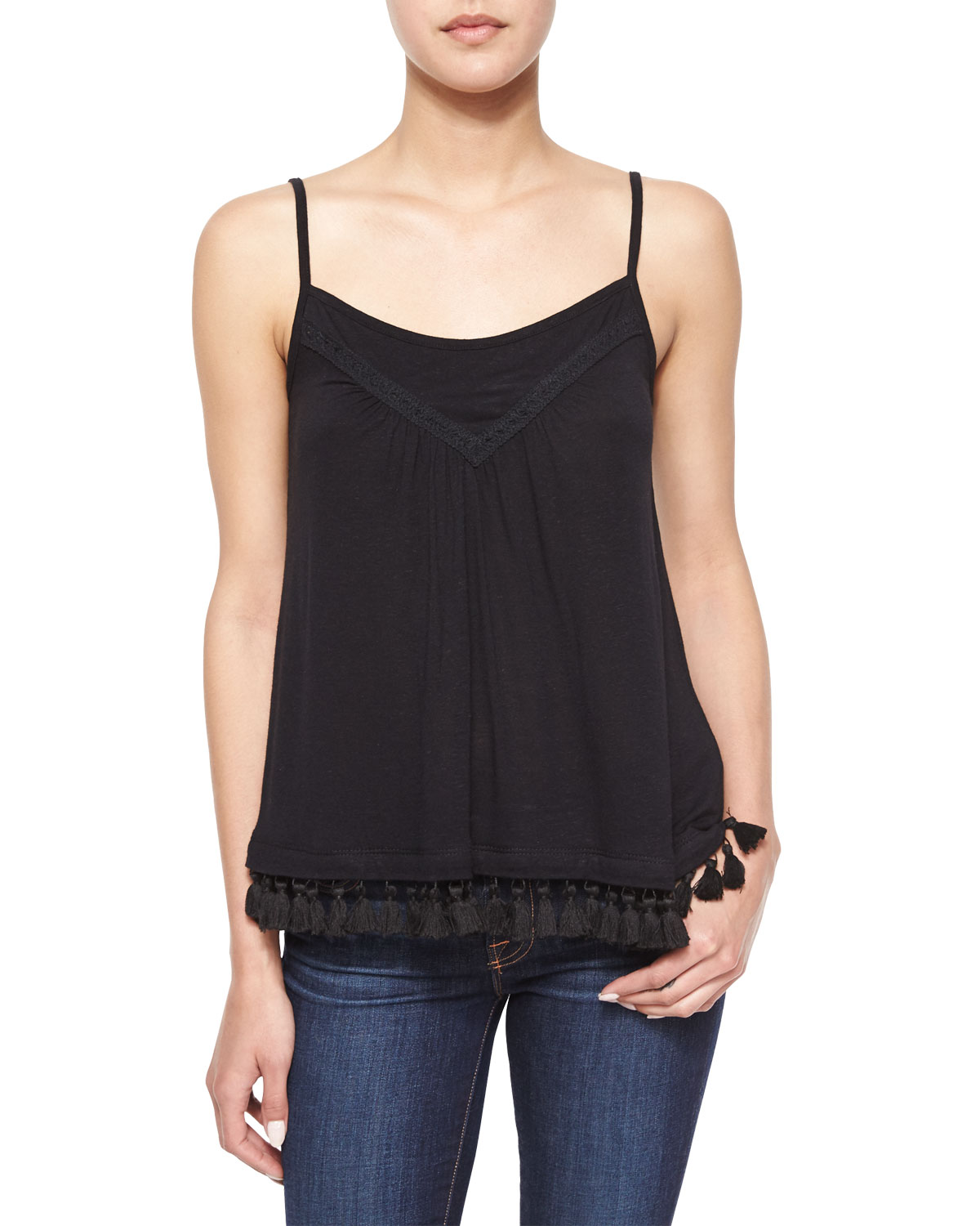 Scoop-Neck Fringe-Hem Tank, Black