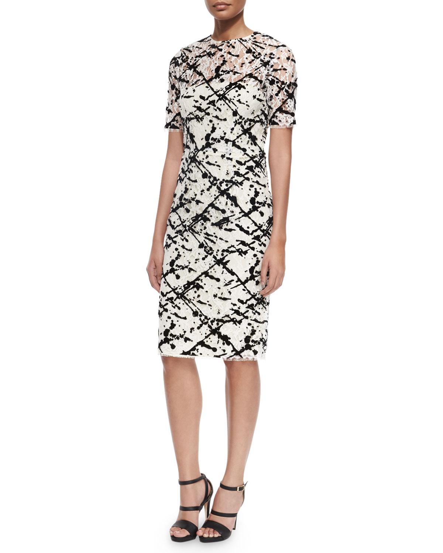 Short-Sleeve Flocked-Splatter Cocktail Dress, Black/White