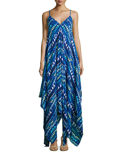 Irene Sleeveless Geometric-Print Dress, Blue Circus