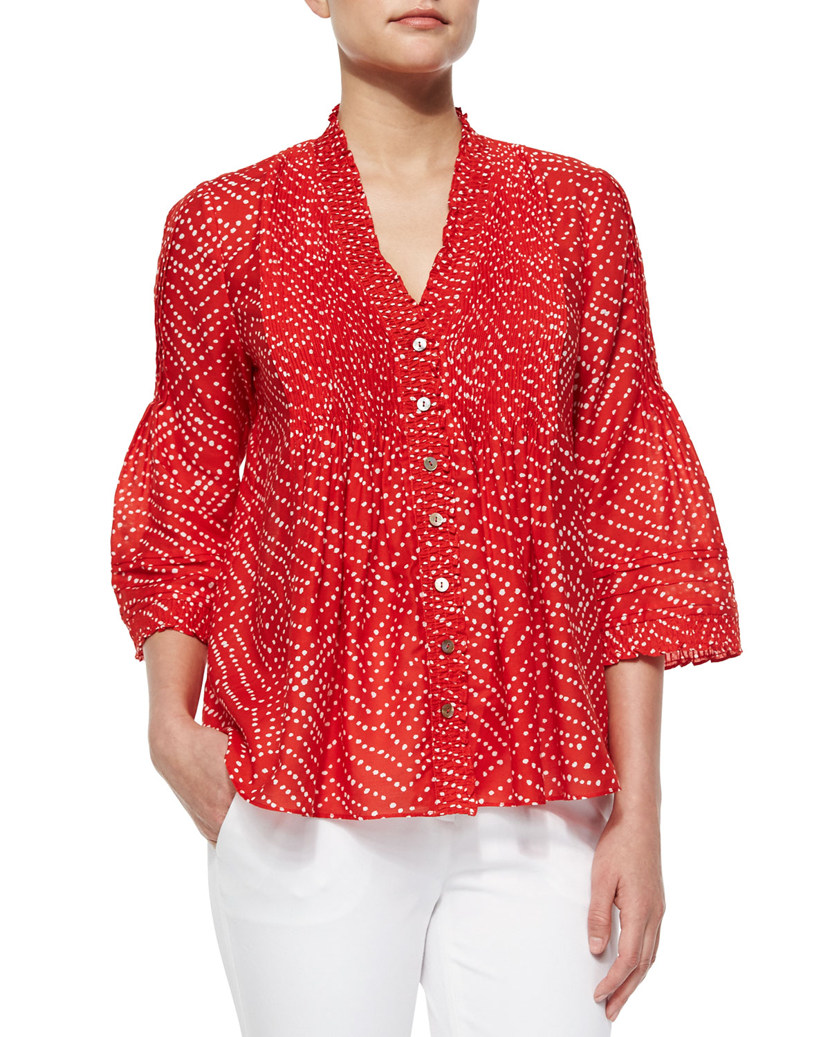 BATIK RED L/S LAYLA TOP