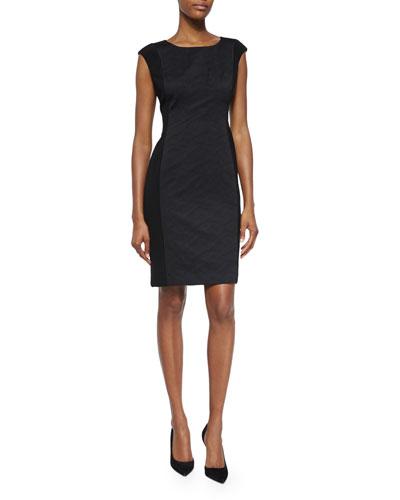 Joss Cap-Sleeve Jacquard Sheath Dress