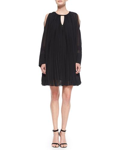 Long-Sleeve Pleated Oversized Shift Dress, Black