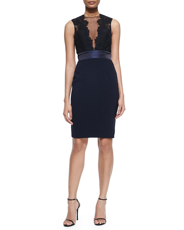 Sleeveless Illusion Deep-V Cocktail Dress, Black/Midnight