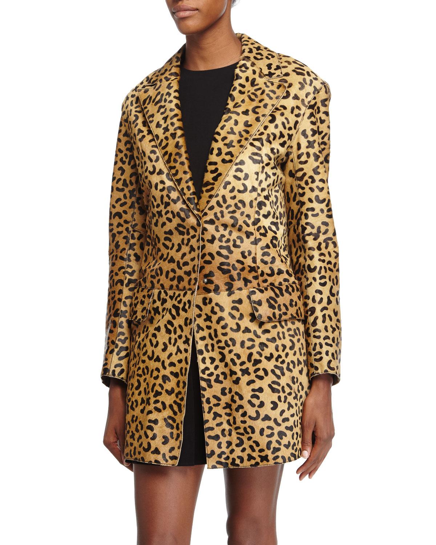 Leopard-Print Calf-Hair Coat, Tan
