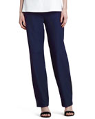 Washable Crepe Slim Boot-Cut Pants, Ink Navy