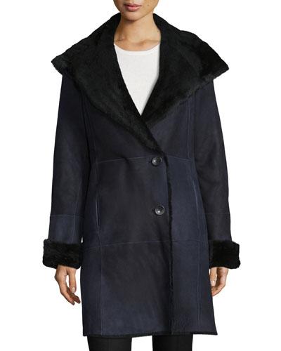 Suede Belted Coat W/ Fur Trim