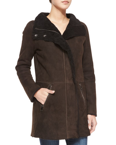Shearling Coat with Curly Fur Detail