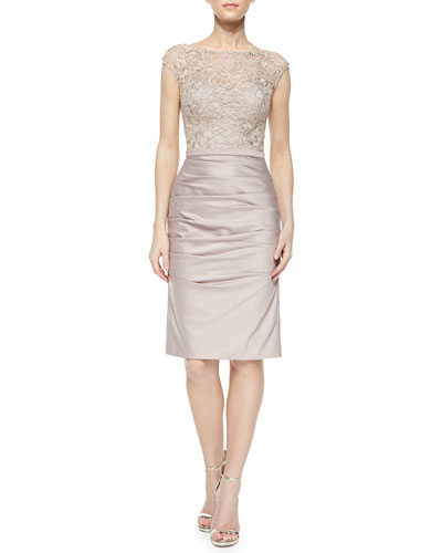 Cap-Sleeve Lace Ruched-Skirt Cocktail Dress